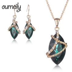 OUMEILY Necklace Earings Fashion Women African Beads Jewelry Sets Accessories Vintage Gold Color Imitation Crystal Wedding