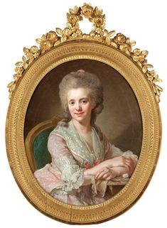 """""""Lorens Pasch d y 1733-1805 """"Eva Katarina Swedenstierna"""" (1759-1836).    Signerad Pasch pinx och daterad 1784. Duk, oval 81 x 67 cm Förgylld och bronserad ram"""""""