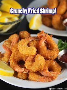 You will never believe how easy it is to make this Crispy Crunchy Fried Shrimp recipe right at home! Seasoned shrimp get lightly coated in a batter, then dipped in panko bread crumbs. Crunchy Fried Shrimp made right at home! Fried Shrimp Recipes, Shrimp Dishes, Fish Dishes, Fish Recipes, Seafood Recipes, Cooking Recipes, Battered Shrimp Recipes, Breaded Shrimp, Seasoned Shrimp