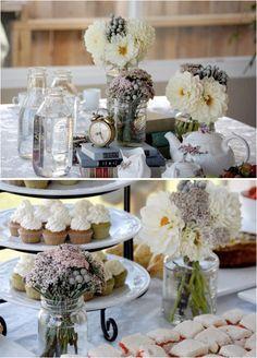 Alice in wonderland bridal shower tea party idea. The books and clock centerpiece. Eeeeee!!