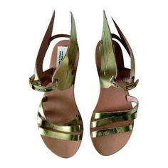 ELENI ATHINI - Ancient Greek Leather Winged sandals, gold. 100% handmade. Bridal Sandals! Hermes Sandals