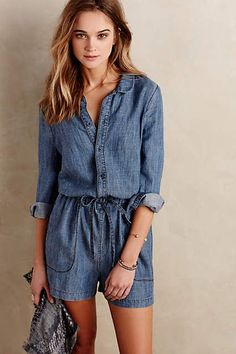 Level 99 Chambray Romper - anthropologie.com