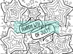This festive 4th of July printable coloring page is perfect for an independence day party activity, a coloring party, or for quiet time alone. Its suitable for both adults and kids! Spaces are large enough to be colored in confidently with markers, crayons, pencils, or paints.