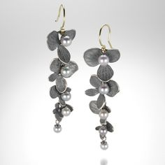 Four Part Hydrangea Earrings with Pearls by John Iversen @QUADRUM