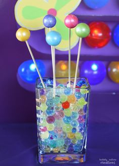 Inside Out Memory Gumball Swizzle Sticks! Fun idea for an Inside Out Movie Party!