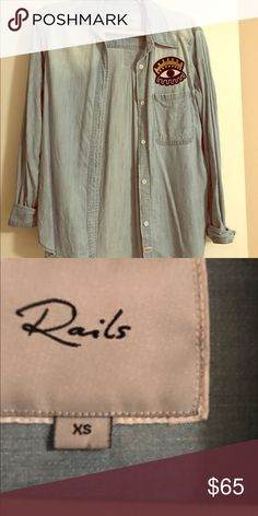 Rails Eye Chambray Shirt Like new Rails in XS. Only worn twice. Chambray button up with eye detail. Rails Tops Button Down Shirts