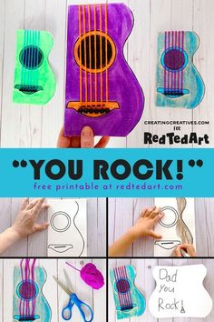 Easy Guitar Card for Dad who loves Music - Do you have a Rock Star in the family? A music lover and guitarist. this is THE Card for them (includes printable). Love these Father's Day Card for kids. Easy Crafts For Kids, Toddler Crafts, Preschool Crafts, Guitar Crafts, Music Crafts, Fathers Day Art, Fathers Day Crafts, Music For Kids, Art For Kids