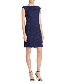 Lauren Ralph Lauren Petite Bateau Neckline Sheath Dress in lighthouse navy  blue