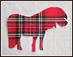 1x7in Highland Pony A4. Red Multi Tartan Cotton Fabric,Cut Out,Iron On, Appliqué