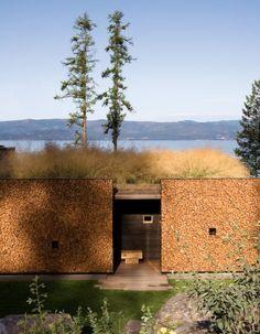 Cordwood construction - Stone Creek Camp, Flat Head Lake, Montana. www.stonecreekmontana.com Architects: www.anderssonwise.com