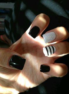 blanco, brillo, lindas, negro, uñas