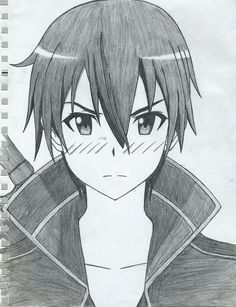 Anime Boy Sketch, Anime Drawings Sketches, Naruto Drawings, Cool Art Drawings, Pencil Art Drawings, Anime Art Girl, Sword Art Online Drawing, Sword Art Online Kirito, Kirito Drawing