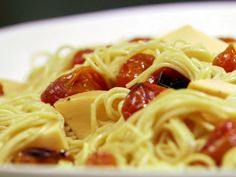 Roasted Grape Tomatoes with Tangled Noodles Recipe : Claire Robinson : Food Network - FoodNetwork.com