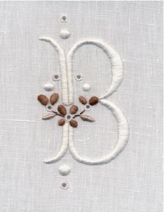 White Work Monogram by Trish Burr - South Africa
