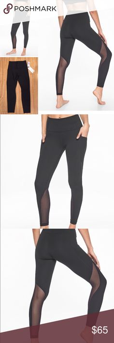 83404c7346a18 Athleta Salutation Pocket Tights PowerVita fabric Wicking and breathable  Side Stash Pockets fit a smartphone Mesh