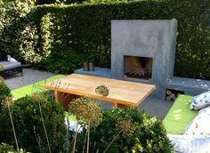 stylish fireplace in classic garden