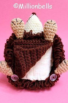 Hedgehog Tissue Holder Crochet Pattern Tissue Box Covers, Tissue Boxes, Tissue Holders, Bobble Stitch, Slip Stitch, Bead Patterns, Crochet Patterns, Crochet Home Decor, Magic Ring