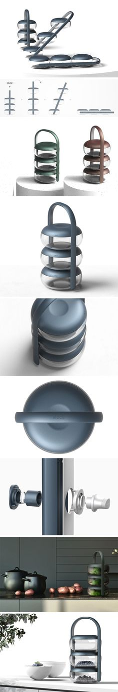 Slock's food storage design allows three containers to be carried using the curved, comfortable handle. When the user arrives at the table, the rather clever, sliding structure allows the three storage containers to lie horizontally on the table with ease, avoiding accidents and unwanted spillages. The combination of curved glass, unusual round form and pared-back color options allow for Slock to seamlessly integrate into the kitchen's interior décor.