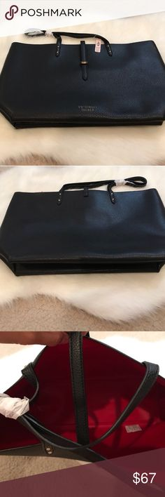 NWT Victoria's Secret black handbag NWT Victoria's Secret black handbag purse (with red interior) originally $78 and the tags are still attached. Also includes a red wristlet/clutch with white XOXO written on it.  👜 Victoria's Secret Bags Totes