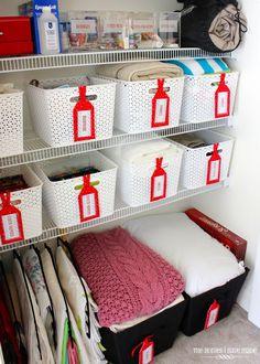 cute organized linen closet - lots of of great ideas!