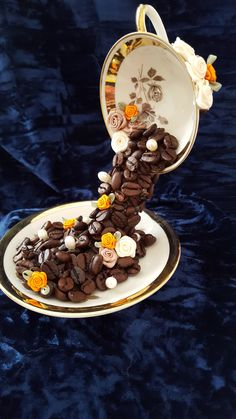 Espresso Floating Cup with Coffee Beans. Made by Maria Hibbard