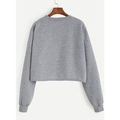 SheIn(sheinside) Grey Alien Patch Crop Sweatshirt (140 NOK) ❤ liked on Polyvore featuring tops, hoodies, sweatshirts, polyester sweatshirt, pullover sweatshirt, cropped sweatshirt, gray sweatshirt and sweater pullover