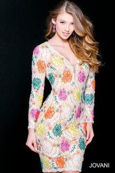 Off White/Multi Lace Short Cocktail Dress 39811 - Short ~ Cocktail Dresses