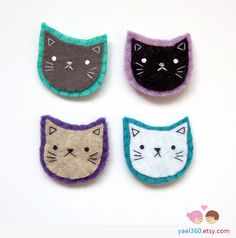Colorful cats pins cat brooches felt pins felted by yael360