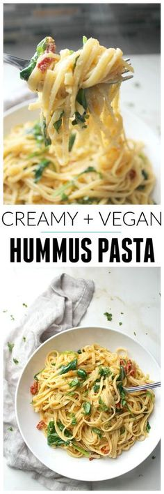 Dinner Recipes This One Pot Creamy Hummus Pasta takes 20 minutes (and yes, it's vegan) Vegan Foods, Vegan Dishes, Vegan Lunches, Vegan Snacks, Kids Vegan Meals, Quick Vegan Meals, Healthy Dishes, Vegan Sweets, Pasta Recipes
