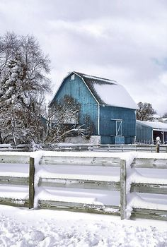 Just a touch of colour - snowy barn