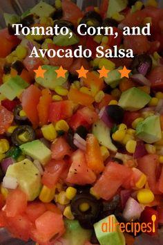 Tomato, Corn and Avocado Salsa Tomato, Corn and Avocado Salsa Appetizer Recipes, Appetizers, Mexican Food Recipes, Ethnic Recipes, Star Food, Salsa Recipe, Good Healthy Recipes, Allrecipes, Love Food