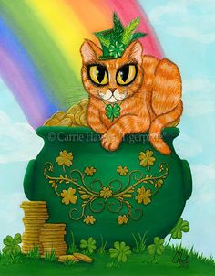 """Saint Paddy's Day Cat"" par Carrie Hawks"