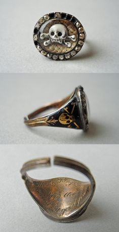 Mourning ring, made in England, 1773 (source). The ring memorializes the death of Sir Evelyn Pierrepont, second Duke of Kingston. The inscription reads: H. of Kingston Not lost but gone before. Skull Jewelry, Cute Jewelry, Jewelry Accessories, Jewelry Design, Nautical Jewelry, Jewellery, Mourning Ring, Mourning Jewelry, Victorian Jewelry