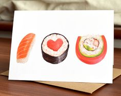 Sushi Love Card Anniversary Card Blank Card by MudsplashStudios