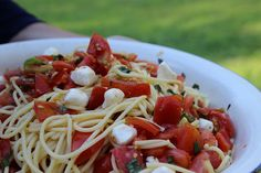 summer pasta tomatoes & basil