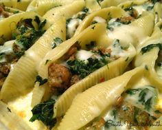 Sausage and Spinach Stuffed Shells with Garlic Cream Sauce