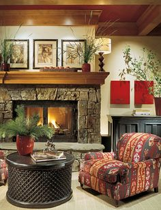 Wood fireplace mantel shelves are a great way to top off a tile, brick or stone fireplace surround and give it a uniquely personal finishing touch! Wood Fireplace Surrounds, Wood Mantle Fireplace, Stone Fireplace Designs, Craftsman Fireplace, Rustic Mantel, Mantel Shelf, Home Fireplace, Fireplaces, Fireplace Ideas