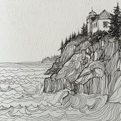 #tbt to Bass Harbor Maine last November. The kids scrambled around the cliffs while I sat and drew the lighthouse. #sketchbook #drawnThere by jercollins_com