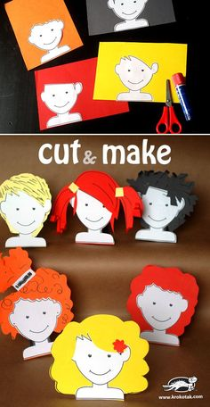Creative Kids Craft - Cut & Make Hairstyles (easy hairstyles for school toddler) Projects For Kids, Diy For Kids, Diy And Crafts, Crafts For Kids, Arts And Crafts, Paper Crafts, Cutting Activities, Activities For Kids, Preschool Art