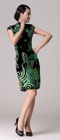 Black/Green Floral Silk Velvet Cheongsam Chinese Qipao Dress