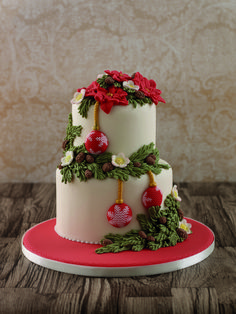 Vintage Christmas Cake - taken from Vintage Cake Decorations Made Easy Christmas Themed Cake, Christmas Cake Designs, Christmas Cake Decorations, Holiday Cakes, Christmas Desserts, Christmas Treats, Christmas Cookies, Buttercream Flower Cake, Fancy Cakes