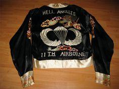 """VINTAGE 1950'S 11th AIRBORNE DIVISION """"HELLS ANGELS"""" PARATROOPER JAPAN SOUVENIR TOUR JACKET"""