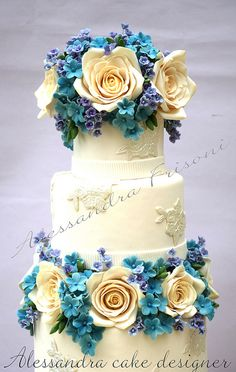 www.facebook.com/cakecoachonline - sharing....I love the colors. Wedding cake by Alessandra Cake Designer, via Flickr