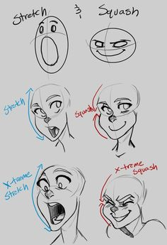 Facial stretch and squish expressions cartoon references