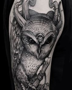 Owl tattoo with keyhole and skeleton key. Roses around | Tattoo ...