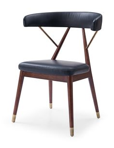 KAI for CULTfurniture by Michaela Reysenn - Wooden Dining Chair, Faux Leather Upholstered Seat, Black