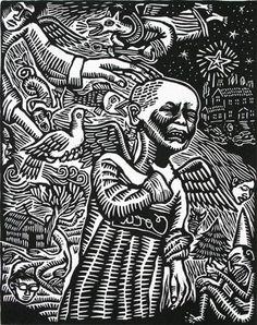 Artemio Rodriguez. Merry Christmas to Whom. 1999. Linocut. Edition 50