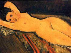 Desnudo reclinado con los brazos cruzados bajo la cabeza, óleo sobre lienzo de Amedeo Modigliani (1884-1920, Italy)