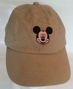 Mickey Mouse Face Disney Florida Baseball Cap Embroidered Tan Adjustable Hat