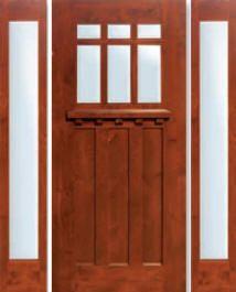 """Craftsman door.  This site has lots of exterior doors.     Exterior Doors Knotty Alder Craftsman GC CMC - 3/0 x 6/8 w/ (2) 14"""" sidelites"""